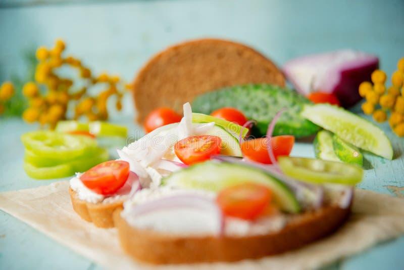 Panino sano con formaggio, ravanello del giardino - cibo sano fotografia stock