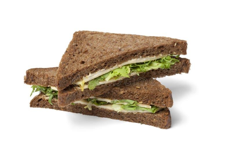 Panino sano dell'insalata e del formaggio fotografia stock libera da diritti