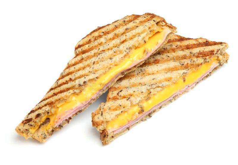 Panino tostato con il prosciutto & il formaggio immagini stock libere da diritti