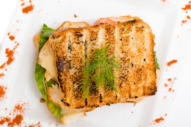 Panino tostato del formaggio e del prosciutto fotografia stock