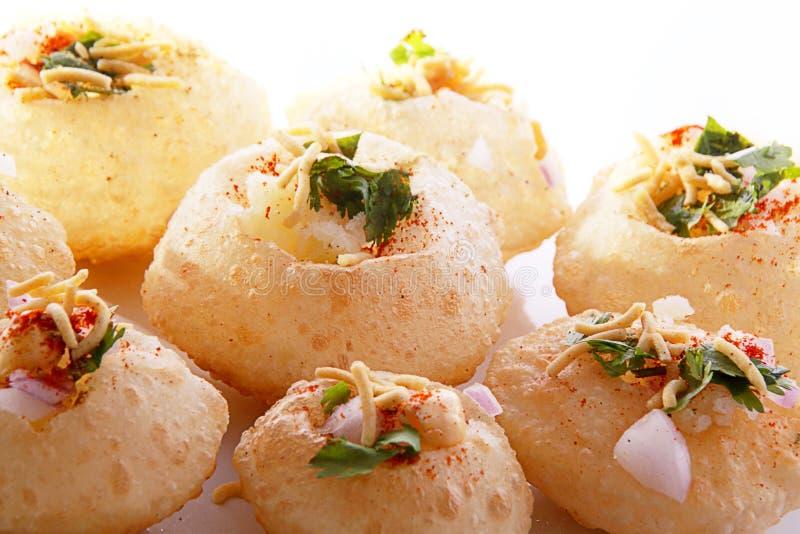 Panipuri stuffed with tasty snack stock photo