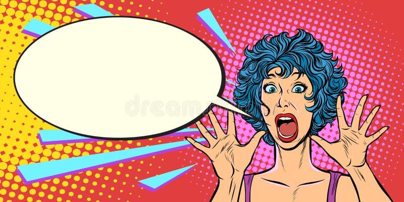 Panique de femme, crainte, geste de surprise Filles 80s illustration de vecteur
