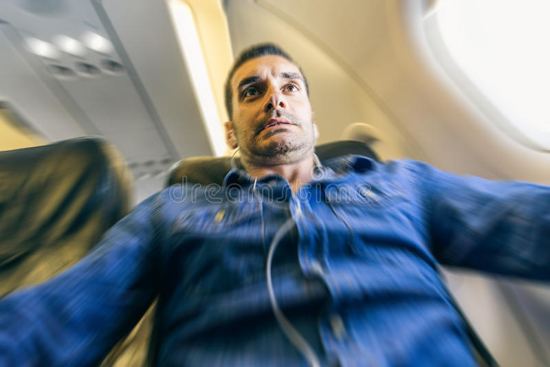 Panique de passager d'avion images libres de droits