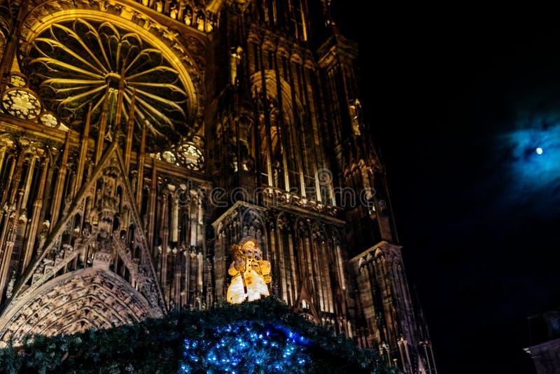 paniusi de bałwanu i katedry Strasburscy zabawkarscy boże narodzenia Ma fotografia stock