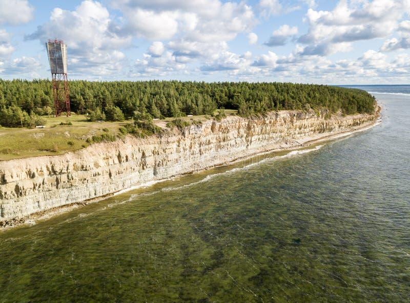 Pank costero del Panga del acantilado y del faro del Panga, isla de Saaremaa, cerca de Kuressaare, Estonia Escarpa Norte-estonia  imagen de archivo libre de regalías