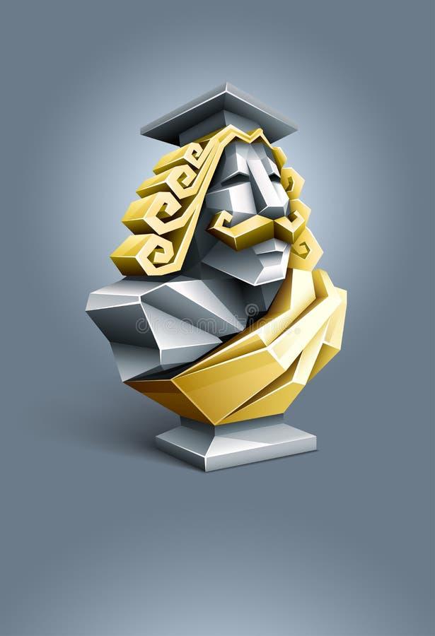 pank klok professorskulptur för antikvitet vektor illustrationer