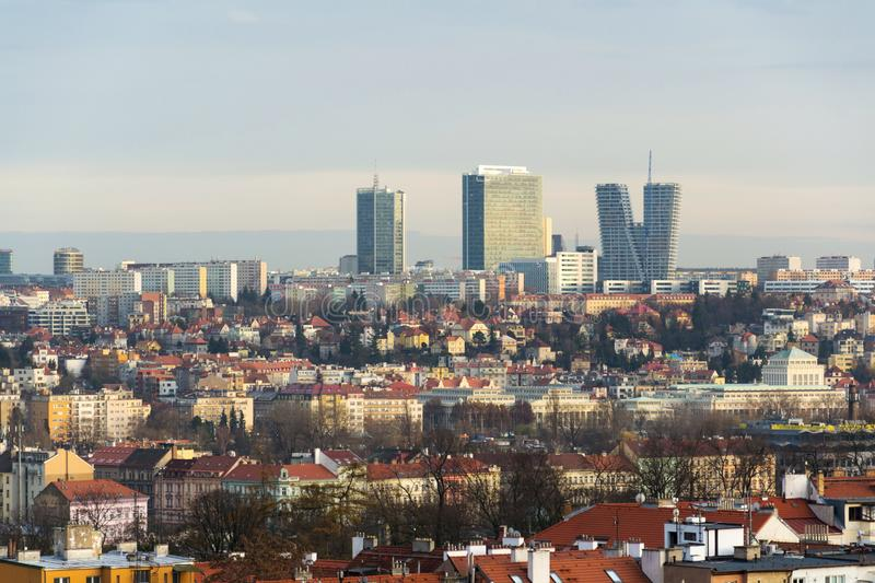 Pankrac district with Prague tallest buildings from Mrazovka, Czech Republic. Panoramic view of the Pankrac district with Prague tallest buildings City Tower royalty free stock photography