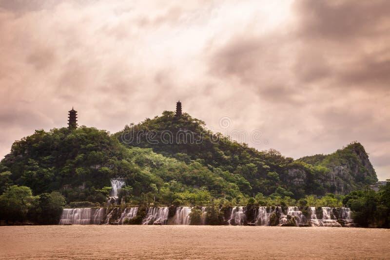 Panlong hill in Liuzhou,China. Panlong hil (or Pagoda hill) llocated in the liujiang river ,Liuzhou,Guangxi province, China stock photography