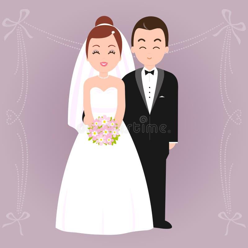 pannę młodą ceremonii ślub kościelny pana młodego ilustracja wektor