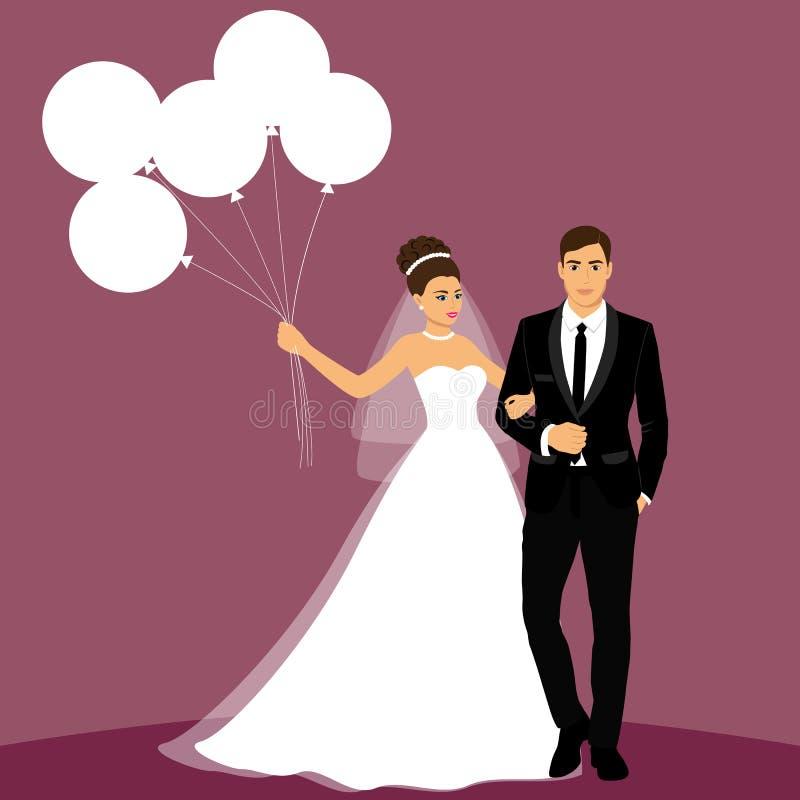 pannę młodą ceremonii ślub kościelny pana młodego Para ilustracja wektor