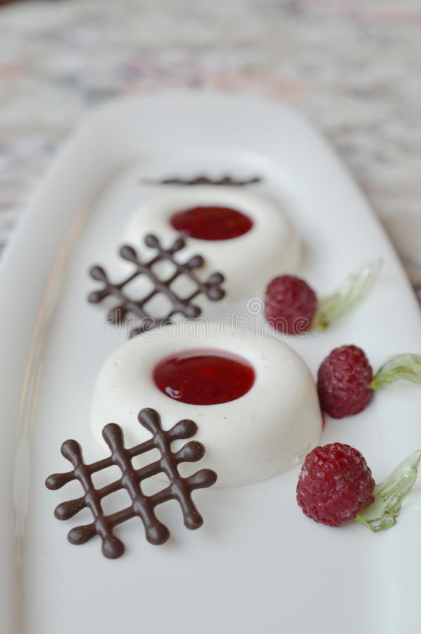 Panna cotta with raspberries stock photography