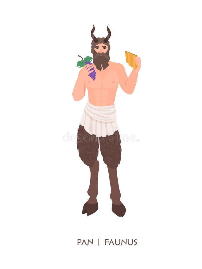 Panna eller Faunus - gud eller gud av herdar och fertilitet från gammalgrekiska och romersk religion Manligt mytologiskt royaltyfri illustrationer