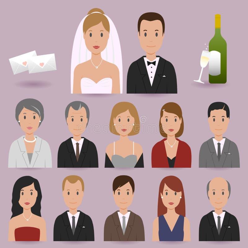 Panna młoda, fornal i ślubów goście, ilustracji