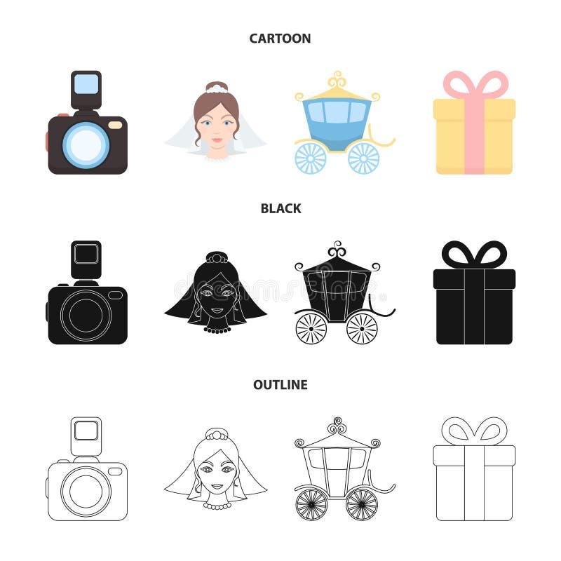 Panna młoda, fotografuje, prezent, ślubny samochód Poślubiać ustalone inkasowe ikony w kreskówce, czerń, konturu symbolu stylowy  ilustracji