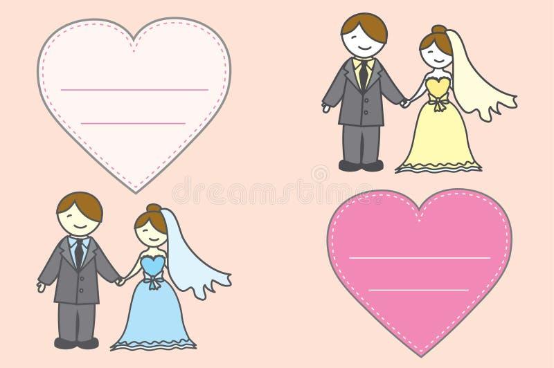 Panna młoda jest ubranym ślubną suknię i fornala jest ubranym Hea i kostium ilustracji