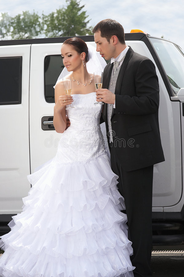 panna młoda park nowożena ślub obraz stock