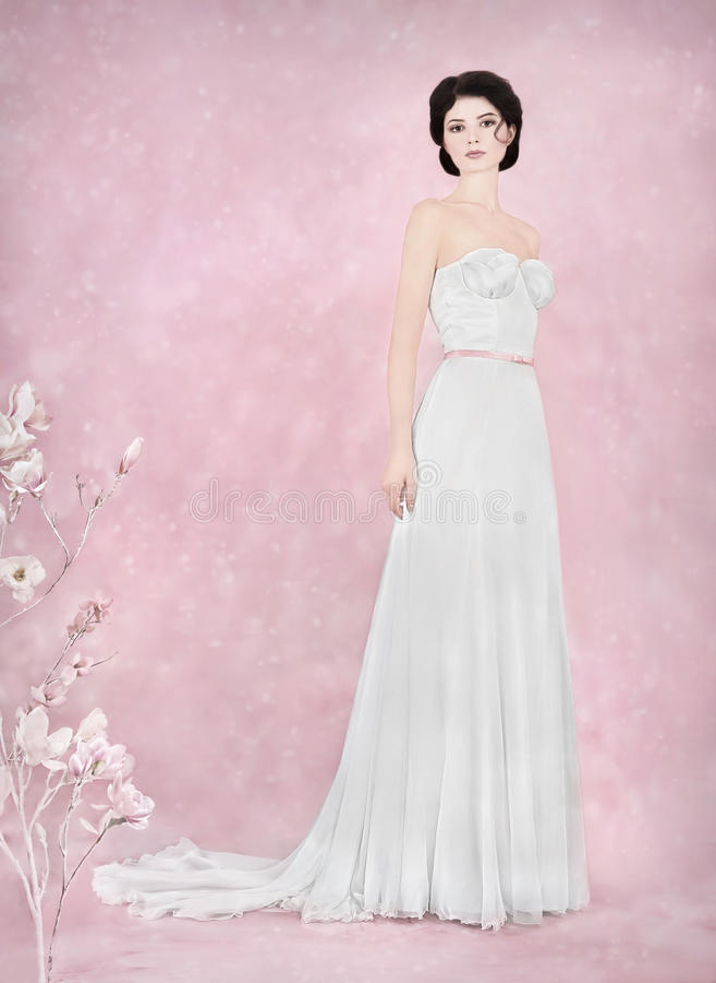Panna młoda portret w romantycznym studiu zdjęcia royalty free
