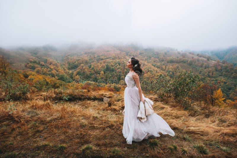 Panna młoda pozuje w wysokiej góry scenerii obraz royalty free