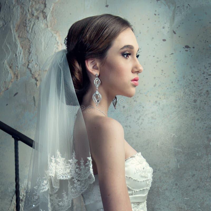 Panna młoda w Ślubnej sukni i przesłonie zdjęcia royalty free