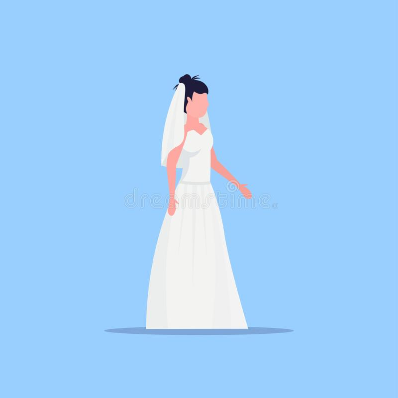 Panna młoda w białej sukience w modelce stojącej w łóżku koncepcja weselna płaskie, niebieskie tło ilustracja wektor