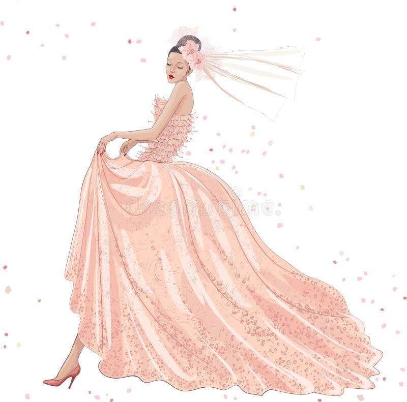 Panna młoda w menchii sukni ilustracja wektor