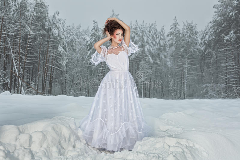 Panna młoda w zima lesie. zdjęcia stock