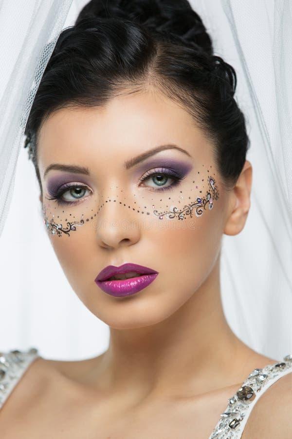 Panna młoda z jaskrawym makeup zdjęcie stock