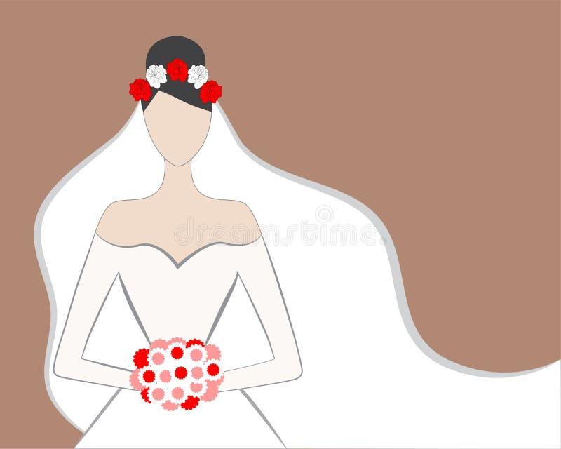 Panna młoda z różami royalty ilustracja