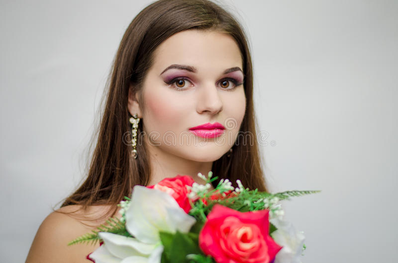 Panna młoda z różami obraz royalty free