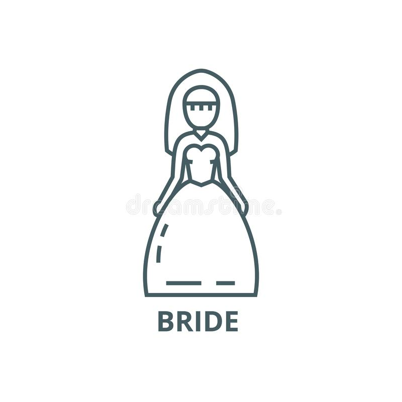 Panna młoda znaka linii ikona, wektor Panna młoda znaka konturu znak, pojęcie symbol, płaska ilustracja royalty ilustracja
