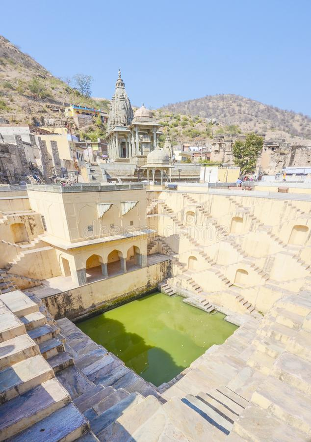 Panna Meena-Ka Kund-Schritt-gut, Jaipur, Rajasthan, Indien lizenzfreie stockfotografie