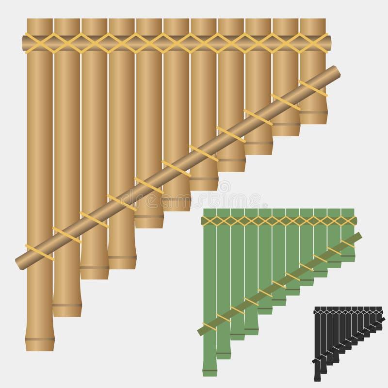 Pannaflöjt, bambuvindmusikinstrument royaltyfri illustrationer