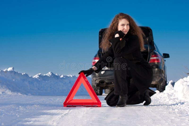 Panne de véhicule de l'hiver photographie stock