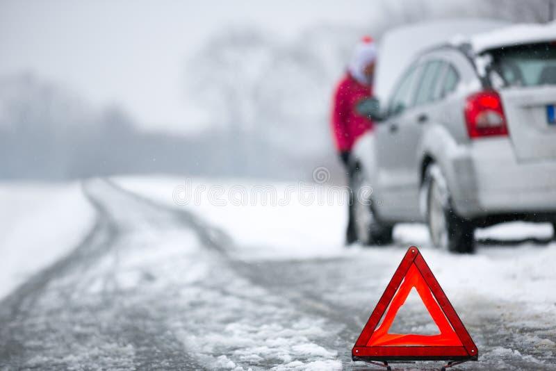 Panne de voiture d'hiver image stock