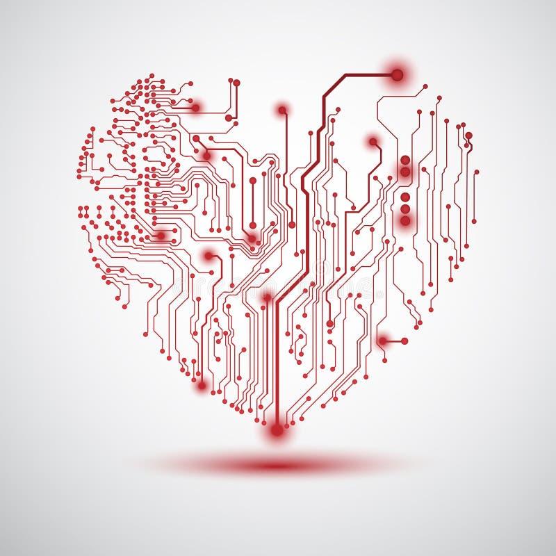 Panneau électrique de coeur illustration stock