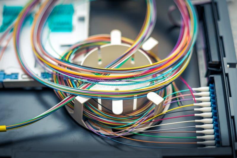Panneau électrique de correction à fibres optiques image stock