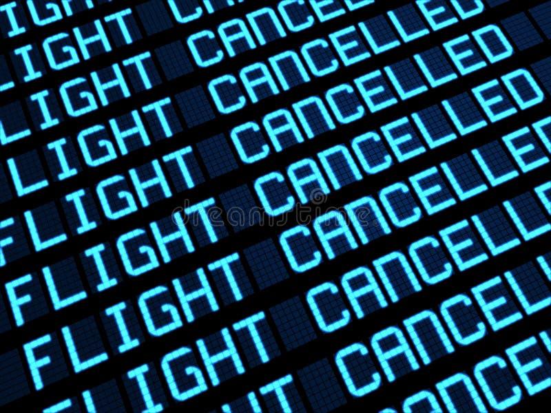Panneau annulé de déviations de vols illustration libre de droits