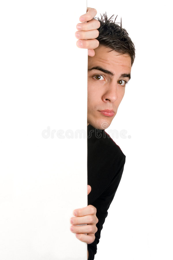 Panneau blanc de jeune fixation adulte photo stock