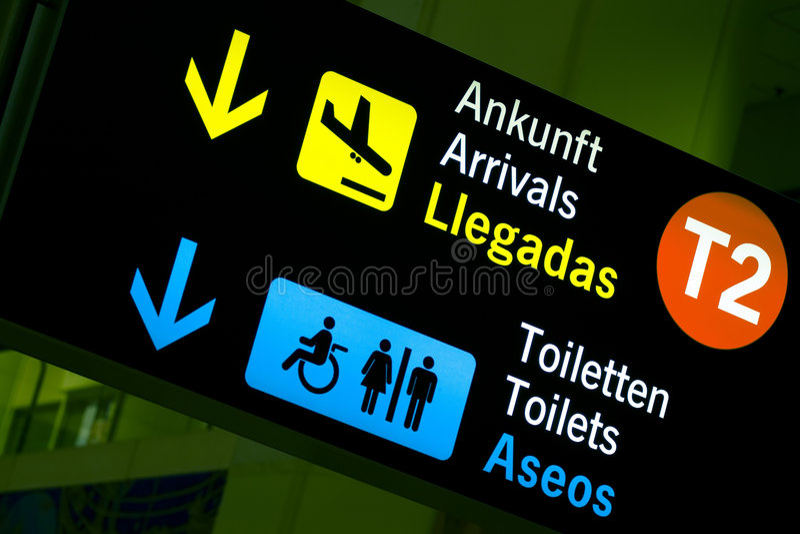 Panneau d'aéroport image stock