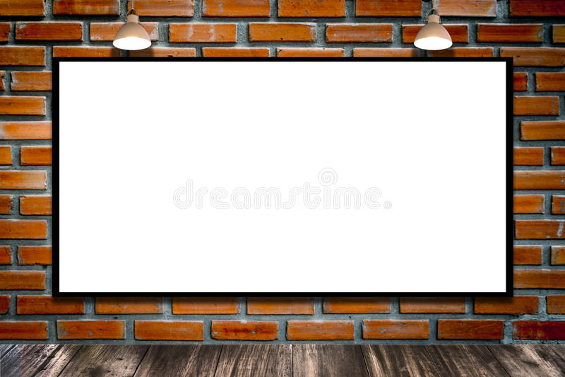 Panneau d'affichage énorme de publicité par affichage sur le mur de briques avec la lampe illustration libre de droits