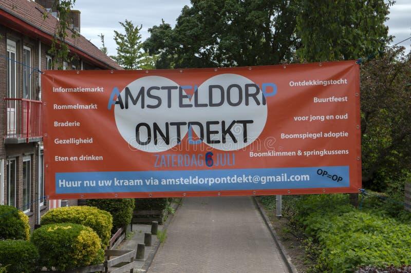 Panneau d'affichage Amsteldorp Ontdekt à Amsterdam les Pays-Bas 2019 photos stock