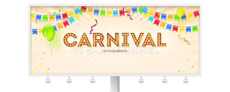 Panneau d'affichage avec l'affiche de carnaval Rétro police volumétrique avec les ampoules Bannière avec des flammes, des confett illustration stock