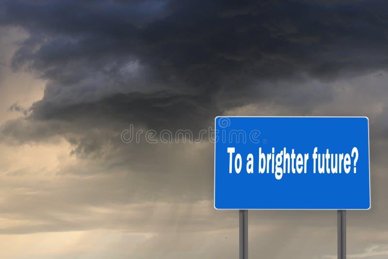 Panneau d'affichage avec l'inscription à un avenir plus lumineux images stock