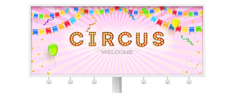 Panneau d'affichage avec l'invitation dans le cirque R?tro police avec les ampoules Bannière avec des flammes, des confettis et d illustration libre de droits