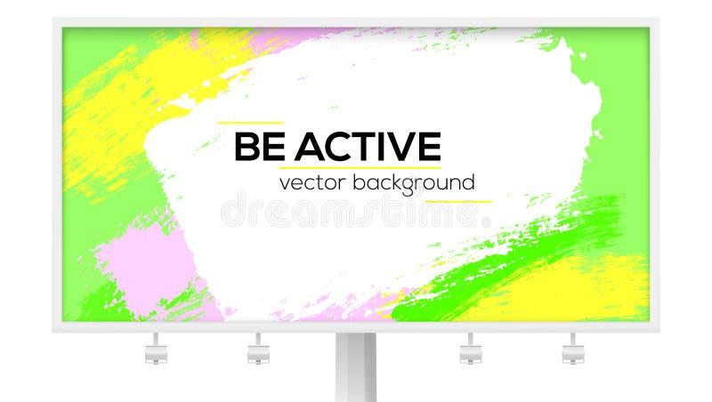 Panneau d'affichage avec les courses colorées multi de brosse Élément de conception avec les calomnies vibrantes de couleur de la illustration libre de droits