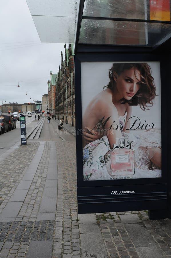 Panneau d'affichage avec Mlle Diro les nouvelles eau de toilette images libres de droits