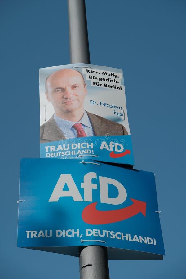 Panneau d'affichage de campagne électorale de partie d'AFD photographie stock libre de droits
