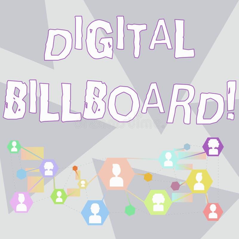 Panneau d'affichage de Digital des textes d'écriture de Word Concept d'affaires pour le panneau d'affichage qui montre des images illustration stock