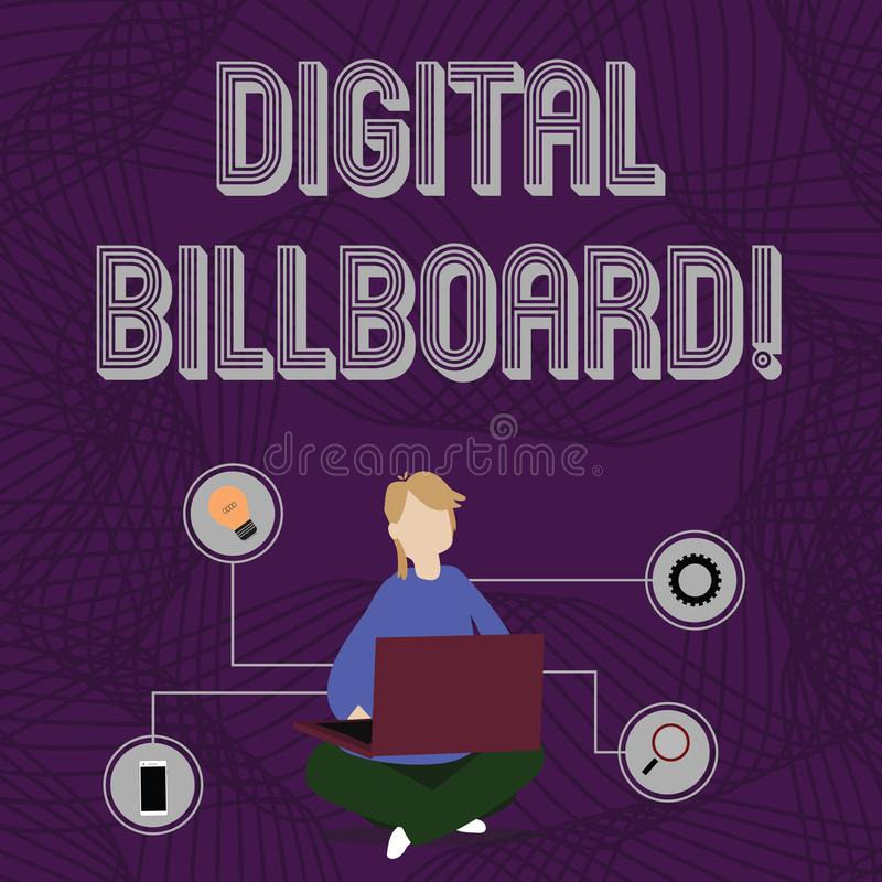 Panneau d'affichage de Digital des textes d'?criture de Word Concept d'affaires pour le panneau d'affichage qui montre des images illustration libre de droits