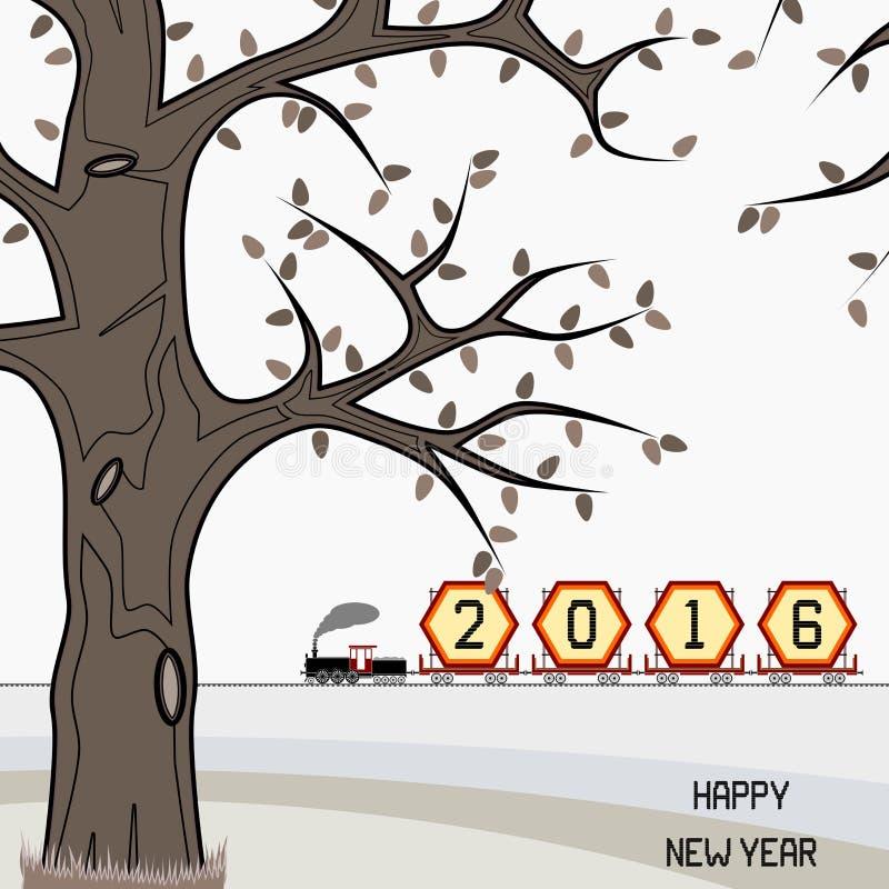 Panneau d'affichage 2016 de nouvelle année sur le train en hiver illustration libre de droits